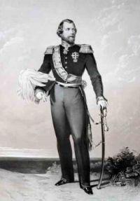 Koning Willem III, beschermheer van het gilde.